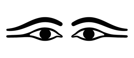 Ancient Egypt eyes with long eye lids. Black eyeliner makeup with almond eye look. Makeup, used by men and women, made with kohl and to prevent ocular infections. Black and white illustration. Vector. Illustration