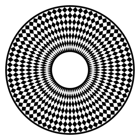 Circular checkerboard pattern. Disc with black chequered pattern in a circle with rhomboid tiling. Creates an optical illusion as if the pattern were moving. Illustration on white background. Vector.