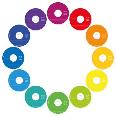 rom: CDs - round frame out of twelve colorful compact discs, like a rainbow colored clock face - isolated vector illustration on white background.