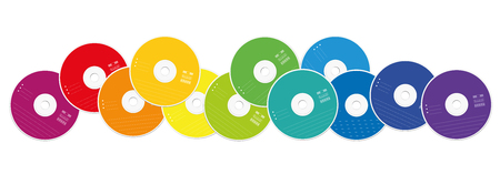 rom: CDs - colored compact disc collection loosely arranged - isolated vector illustration on white background.