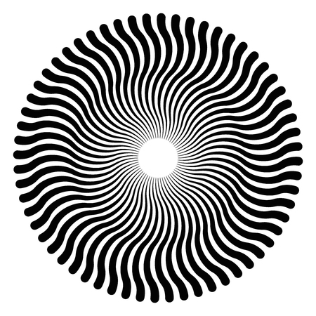 Serpentine lines forming a circular pattern and a three-dimensional effect. The pattern creates an optical illusion as if it is moving. Black and white illustration, on white background. Vector. Stock Vector - 80038152