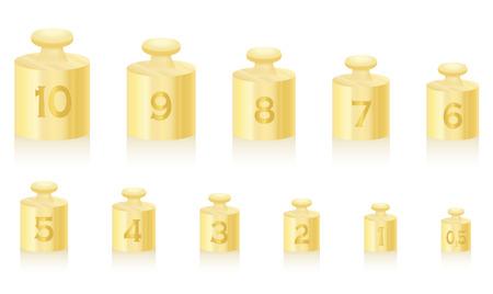 Gouden gewichtsmassa's voor gouden schaal - reeks van één tot tien, plus een halve eenheid - geïsoleerde vectorillustratie op witte achtergrond. Vector Illustratie