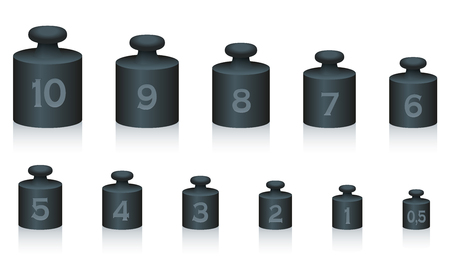 heaviness: Weight masses of black iron for maths and physics, from one to ten, plus half unit - for calculating, counting and weighing - isolated vector illustration on white background.