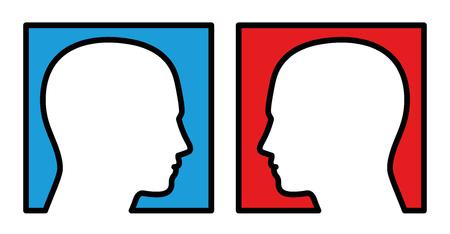 Opposition - deux personnes qui se regardent, avec un fond bleu et rouge, symbolique pour la compétition, la rivalité, l'antagoniste, l'opposant ou le disputer. Illustration vectorielle isolée sur fond blanc.
