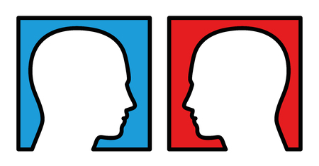 Opposition - two persons looking at each other, with blue and red background, symbolic for competition, rivalry, antagonist, opposer or disputer. Isolated vector illustration on white background.