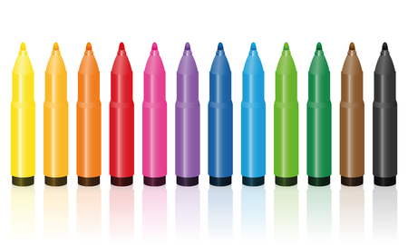 Thick felt tip pens, colorful set, upright standing in a row - isolated vector illustration on white background. Illustration