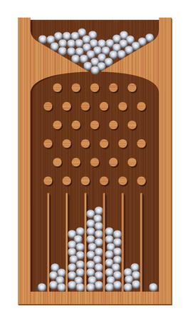 Bean machine, Galton board, wooden textured, iron balls - generating Gaussian bell curve. Education and science tool for mathematics and physics. Isolated vector illustration. Ilustração