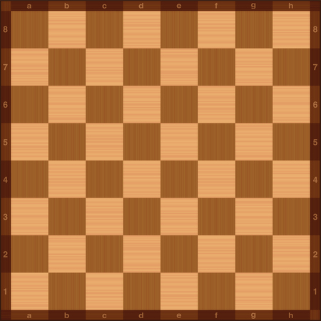 Chessboard, top view, wooden texture, with algebraic notation. Vector illustration.