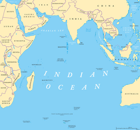 Indian Ocean political map. Countries and borders. World's third largest ocean division, bounded by Africa, Asia, Antarctica and Australia. Named after India.  Illustration. English labeling. Vector. Ilustração