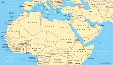 Mapa polityczna Afryki Północnej i Bliskiego Wschodu z najważniejszymi stolicami i granicami międzynarodowymi. Maghreb, Morze Śródziemne, kraje Azji Zachodniej i Środkowej. Ilustracja z etykietowania w języku angielskim. Wektor