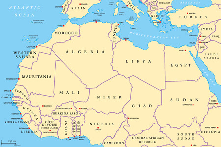 North Africa countries political map with capitals and borders. From Atlantic shores of Morocco to Egypt and Red Sea. The Maghreb and Mediterranean countries. Illustration. English labeling. Vector.