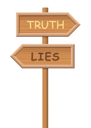 Wahrheit hölzerner Wegweiser, wählen Sie Ihren Weg - Fakten oder Fälschung, Wahrheit oder Betrug, Ehrlichkeit oder Täuschung - isolierte Vektor-Illustration auf weißem Hintergrund.