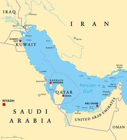 Mapa político de los países de la región del Golfo Pérsico. Capitales, fronteras, ciudades y ríos. Irán, Iraq, Kuwait, Qatar, Bahrein, Emiratos Árabes Unidos, Arabia Saudita, Omán. Ilustración. Etiquetado en inglés. Vector. Foto de archivo - 80435589