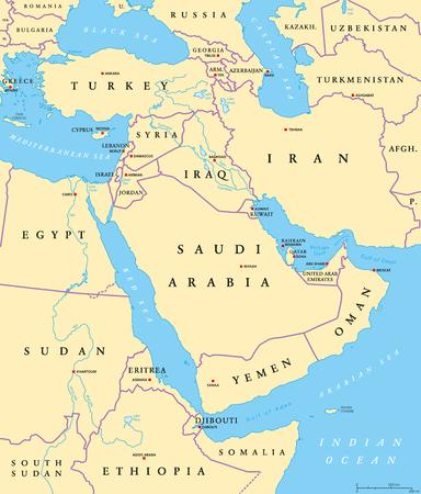 中東の首都と国境の政治地図。西アジア、エジプトを中心とした大陸横断の地域。また中東、近くまたは遠く東。イラスト。英語のラベルします。