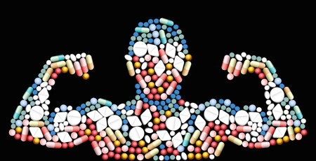 Sports doping, anabolic drugs, pills and capsules - shape of a male muscular upper body - symbol for medical drug abuse. ]