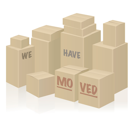 WE HAVE MOVED - moving boxes, packing case - isolated vector illustration on white background.