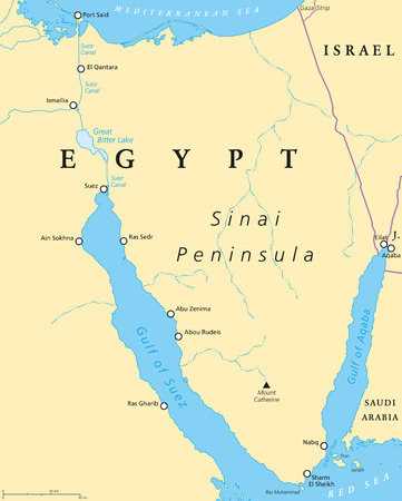 Egypt, Sinai Peninsula political map. Situated between Mediterranean Sea and Red Sea. Land bridge between Asia and Africa.
