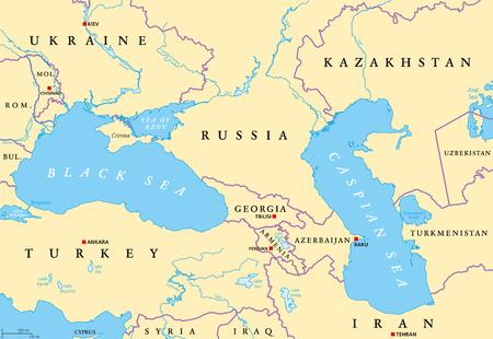 Black Sea And Caspian Sea Region Political Map With Capitals ...