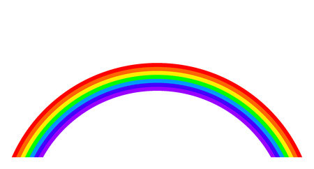 Rainbow illustration on white background. Rainbow bands in the seven main colors of the spectrum.