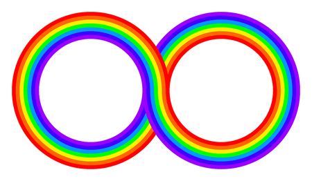 Two intertwined rainbow colored circles. Connected rings with rainbow bands in seven colors of the spectrum and visible light. Illustration