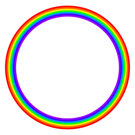 Rainbow colored circle on white background. Ring with rainbow bands in seven main colors of the spectrum and visible light. Illustration. Vector. Illustration