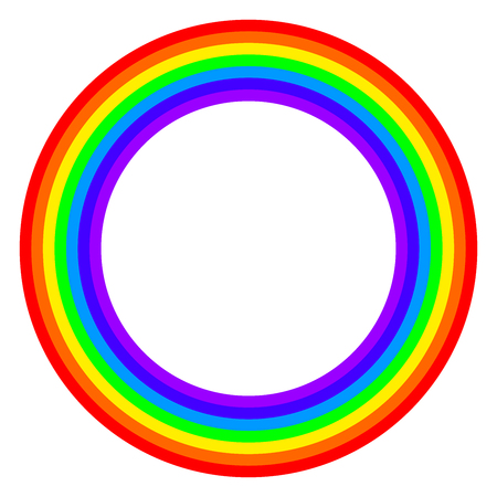 Rainbow circle spectrum colored. Ring with rainbow bands in seven colors of the spectrum and visible light. Illustration on white background. Vector