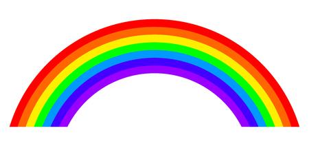 Sieben Farben Regenbogen Illustration auf weißem Hintergrund. Bogen mit Bändern in den Hauptfarben des Spektrums. Standard-Bild - 80876247