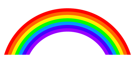 Seven colors rainbow illustration on white background. Arc with bands in the main colors of the spectrum.