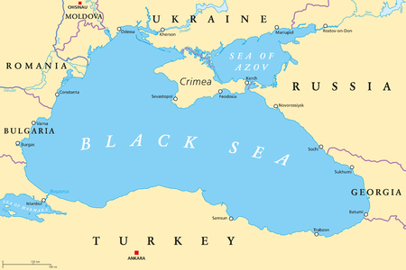 Black Sea and Sea of Azov region political map with capitals, most important cities, borders and rivers. Body of water between Eastern Europe and Western Asia. Illustration. English labeling. Vector. 向量圖像