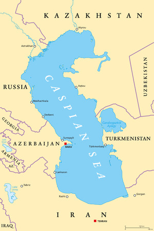 Caspian Sea region political map with most important cities, borders, rivers and lakes Body of water, basin, and largest lake on earth between Europe and Asia; Illustration.
