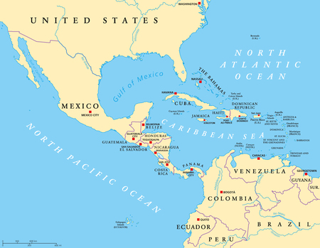 Middle America political map with capitals and borders. Mid-latitudes of the Americas region. Mexico, Central America, the Caribbean and northern South America. Illustration. English labeling. Vector.