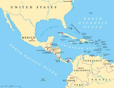 Mapa polityczna Ameryki Środkowej ze stolicami i granicami. Średnie szerokości geograficzne regionu Ameryki Północnej. Meksyku, Ameryce Środkowej, Karaibach i Północnej Ameryce Południowej. Ilustracja. Etykietowanie w języku angielskim. Wektor.