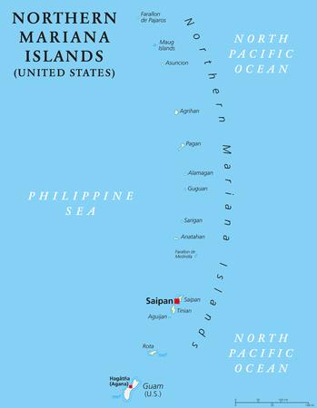 北マリアナ諸島サイパンの首都で政治地図。島嶼とグアムの北太平洋におけるアメリカ合衆国の連邦。マリアナ群島。イラスト。英語のラベルします。ベクトル。
