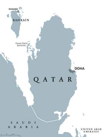 Qatar political map with capital Doha. Country in Western Asia on northeastern coast of Arabian Peninsula. Gray illustration isolated on white background. English labeling. Vector.