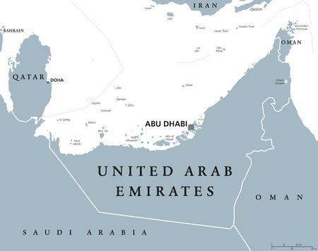 アラブ首長国連邦アブダビの首都で政治地図。アラブ首長国連邦、首長国連邦、西アジアのアラビアの半島の北東部海岸の君主制白灰色の図。英語