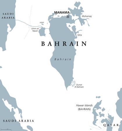 首都マナマでバーレーンの政治地図。アラビア湾の王国。島の国、カタールとサウジアラビア王国との間の列島。白い背景の灰色の図。英語のラベルします。ベクトル。 写真素材 - 81503891