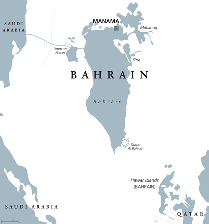 Bahrain political map with capital Manama. Kingdom in the Arabian Gulf. Island country and archipelago between Qatar and Saudi Arabia. Gray illustration on white background. English labeling. Vector. Illustration