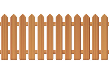Picket fence, wooden textured, rounded edges - seamless extendable to endless pattern - isolated vector illustration on white background. Çizim