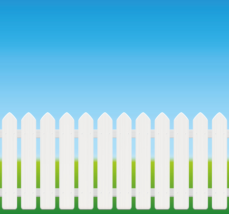 White picket fence, comic style, wooden texture - seamless expandable - isolated vector illustration on green to sky blue gradient.