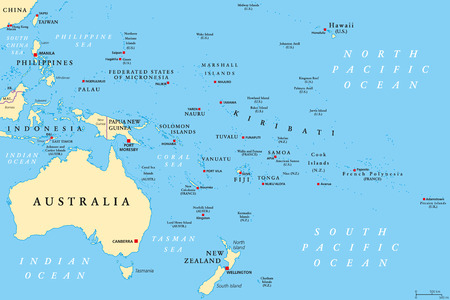 Politieke kaart van Oceanië. Regio, gecentreerd op centrale eilanden in de Stille Oceaan. Met Melanesië, Micronesië en Polynesië, inclusief Australië en de Maleisische archipel. Illustratie. Engelse etikettering. Vector.