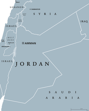 labeling: Jordan political map with capital Amman. The Hashemite Kingdom of Jordan, an Arab country in Middle East and Western Asia. Gray illustration isolated on white background. English labeling. Vector.