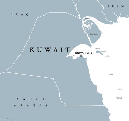 クウェート クウェート シティの首都で政治地図。状態およびペルシャ湾の先端で、中東のアラブの国。灰色の図は、白い背景で隔離。英語のラベル  イラスト・ベクター素材