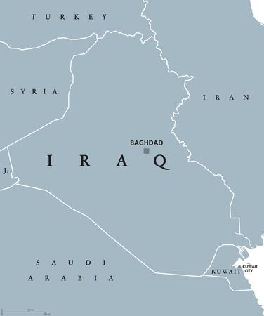 イラクの首都バグダードでの政治地図。共和国とアラブ国は中東、西アジア、ペルシャ湾。 写真素材 - 81658957