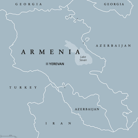 Armenia political map with capital Yerevan. Republic and sovereign state and in South Caucasus and Middle East region.