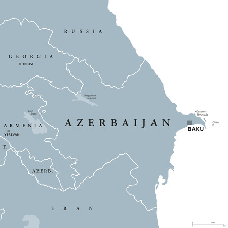 Azerbaijan political map with capital Baku and exclave Nakhchivan. Republic and country and in South Caucasus region, bound by Caspian Sea. Illustration