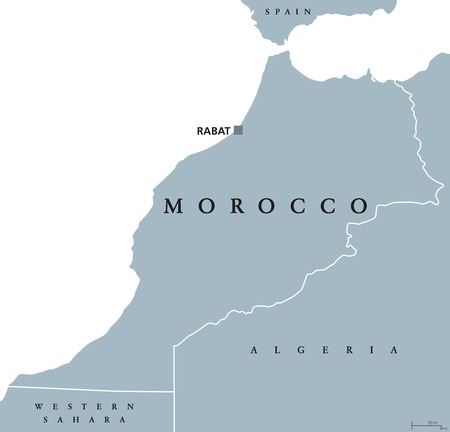 Morocco political map with capital Rabat and borders. Kingdom and Arab country in the Maghreb region of North Africa. Gray illustration isolated on white background. English labeling. Vector. Illustration