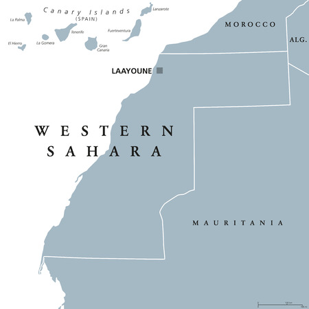 Western Sahara political map with capital Laayoune. Disputed, partially Moroccan occupied territory in Maghreb region of North Africa. Gray illustration on white background. English labeling. Vector.