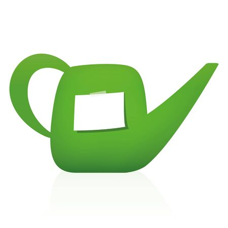 Watering can with blank notepad - piece of white paper to write a message, reminder, tips or thank you letter. Isolated vector illustration on white background. Illustration
