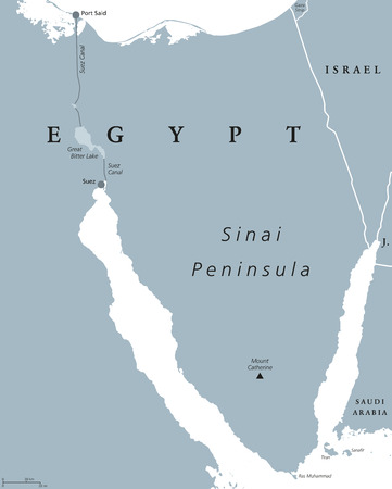 Sinai Peninsula political map. Land bridge in Egypt situated between Mediterranean Sea and Red Sea. With Suez Canal. Gray illustration isolated on white background. English labeling. Vector.