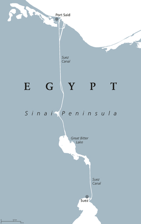 Suez Canal political map. Artificial sea-level waterway on Sinai Peninsula in Egypt, connecting Mediterranean Sea and Red Sea. Gray illustration isolated on white background. English labeling. Vector.